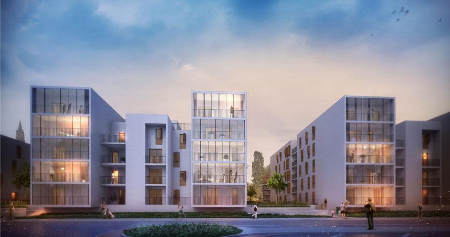 217 logements collectifs proposition urbaine marjan for Habitat contemporain